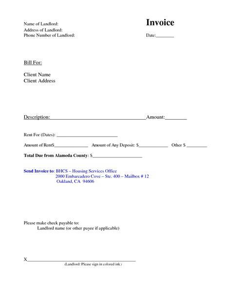 Invoice For Rent Invoice Template Ideas Invoice For Rent Payment Template