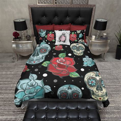 turquoise and red bedding turquoise sugar skull and red roses bedding ink and rags