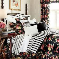 French Country Comforters Chaps By Ralph Lauren Isabella Black Red Pink Floral Queen