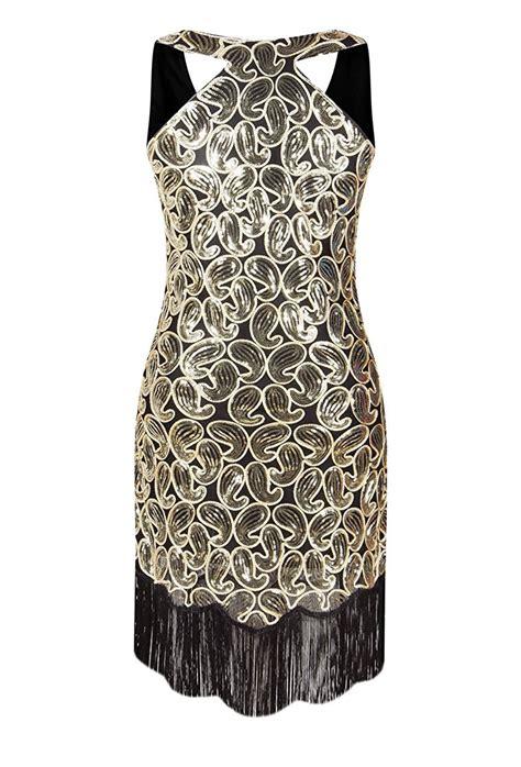 pattern gold sequin dress women s 1920s sequin paisley pattern racer back flapper