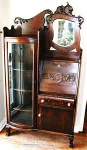 Antique Curio Cabinet With Desk Gorgeous American Antique Drop Front Oak Desk