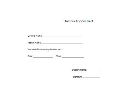 free doctors note template word doctors note template 6 free word excel pdf format