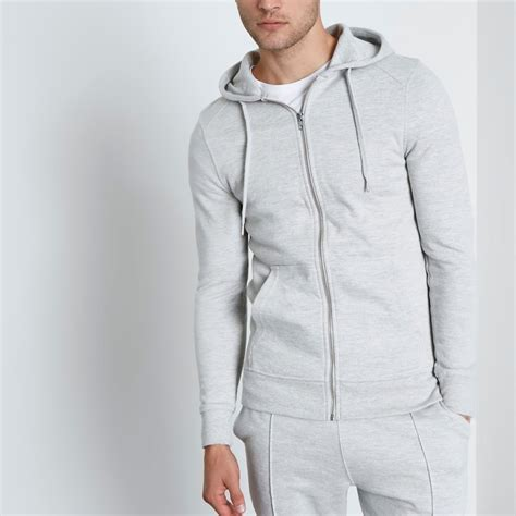 light grey hoodie mens river island mens light grey muscle fit zip up times