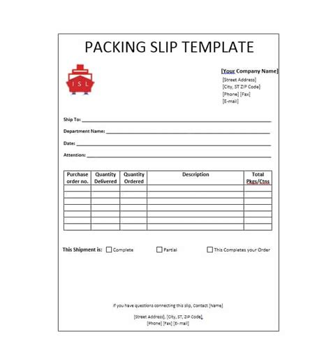 30 Free Packing Slip Templates Word Excel Template Archive Packaging Slip Template