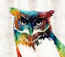 Neon Shower Curtain Colorful Owl Art Wise Guy By Sharon Cummings Painting