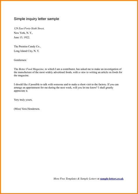 Sle Inquiry Letter For Application 12 Letter Email Inquiry Ledger Paper