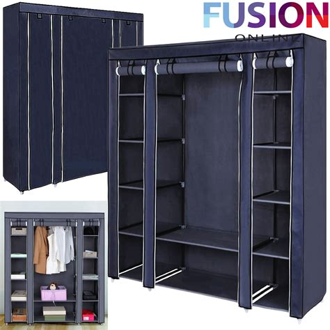 Rail Wardrobe Storage by Fabric Canvas Clothes Wardrobe With Hanging Rail