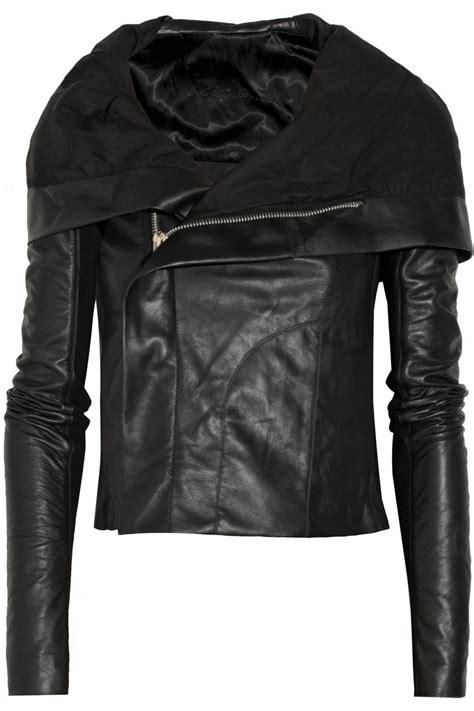 hooded motorcycle jacket lyst rick owens hooded leather biker jacket in black