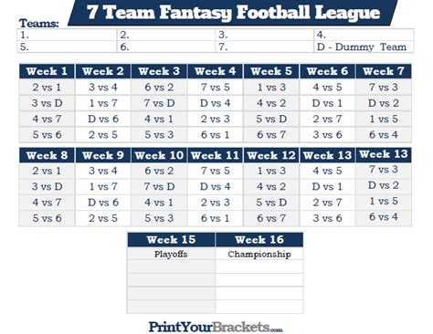 Printable 7 Team Fantasy Football League Schedule 10 Team League Schedule Template
