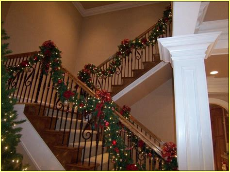 christmas staircase garland home design ideas