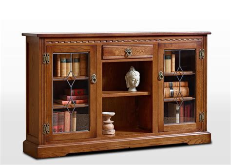 Old Charm Low Bookcase With Leadlight Doors Wood Bros Low Bookcase With Doors