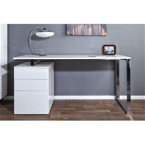 Bureau Design Blanc Laque Avec Rangement Compact Bureau Blanc Design