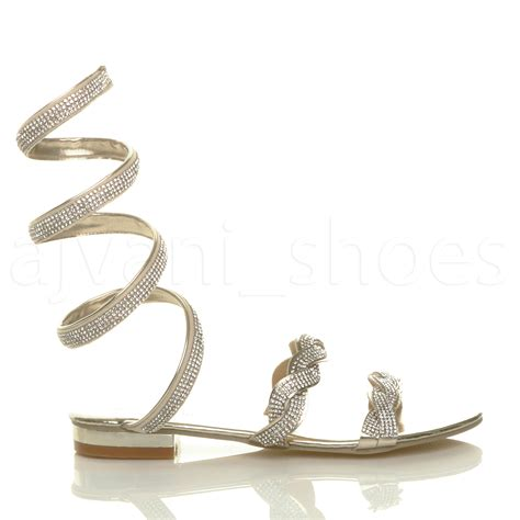 sandals that wrap around the ankle womens low heel sparkly diamante wrap around ankle