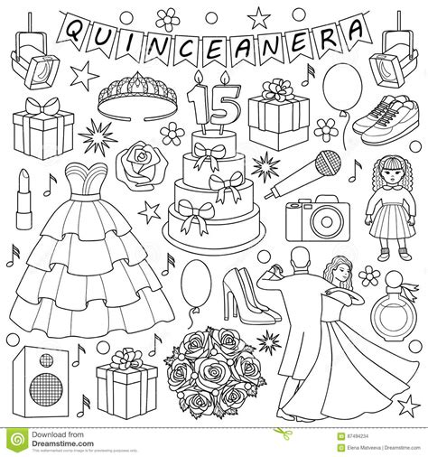 quinceanera doodle set stock vector illustration