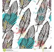 Pastel Colored Feather Seamless Background Stock Vector