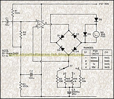 circuit diagram audio milli volt meter circuit diagram