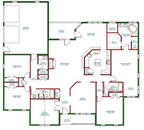 Single Floor House Plans | traditional ranch house plan single level one story ranch