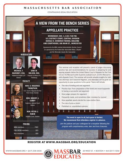 Umass Mba Calendar by Mba View From The Bench Program Appellate Practice