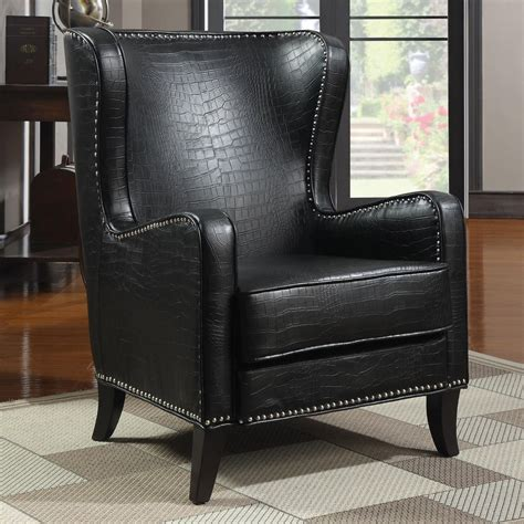 Black Leather Accent Chair Coaster 900162 Black Leather Accent Chair A Sofa Furniture Outlet Los Angeles Ca
