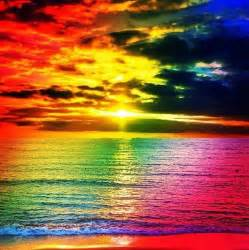 colorful beaches rainbow sunset the