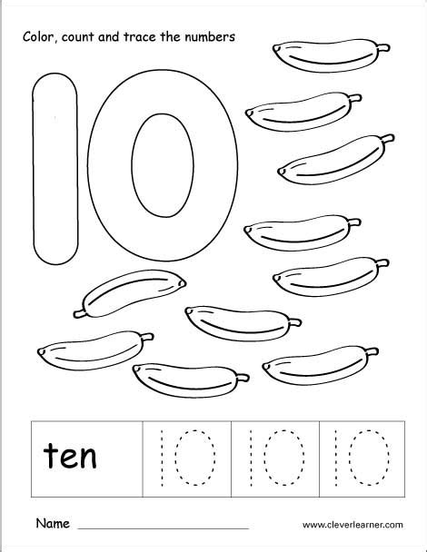 numbers tracing worksheets 10 for preschool printable coloring number ten writing counting and identification printable