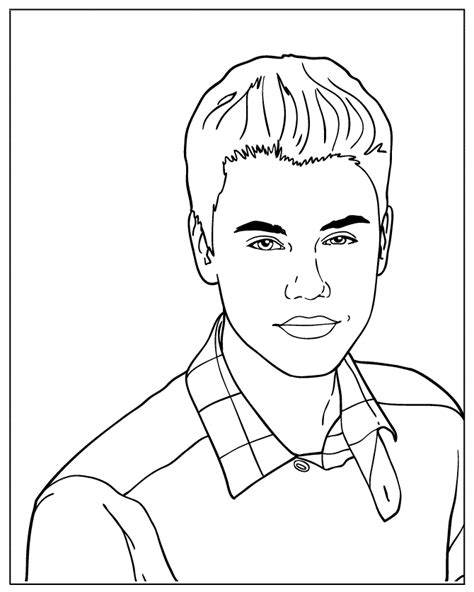 justin bieber free colouring pages