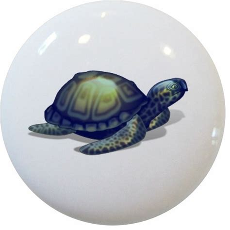 Beachy Cabinet Hardware by Blue Sea Turtle Ceramic Cabinet Drawer Knob Style