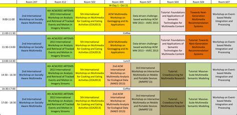 one schedule wordkshop day 1 schedule acm mm 13