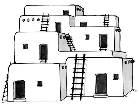 Pueblo House Coloring Page | jennifer k keller illustrations native americans of the