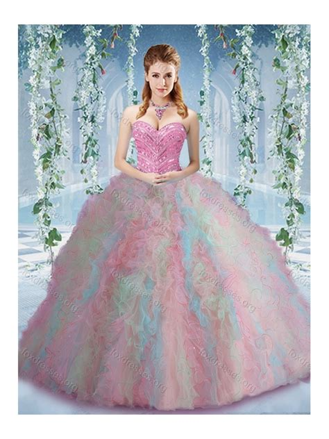 rainbow colored dresses pretty rainbow colored big quinceanera dress with