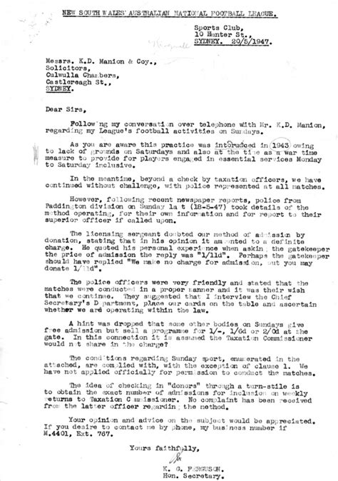 Fundraising Letter To Bunnings The Season 1947 Nsw Australian Football History Society Inc