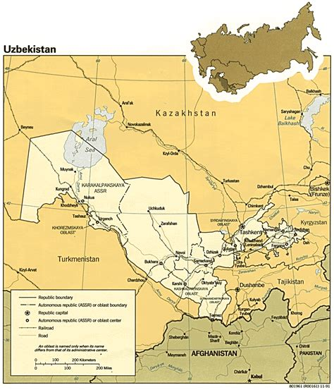 uzbekistan on a world map nationmaster maps of uzbekistan 13 in total