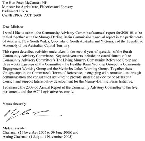 Transmittal Letter For Technical Report Murray Basin Commission Annual Report 2005 2006