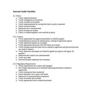 Audit Policy Template by Sle Audit Checklist Template 8 Free Documents In Pdf