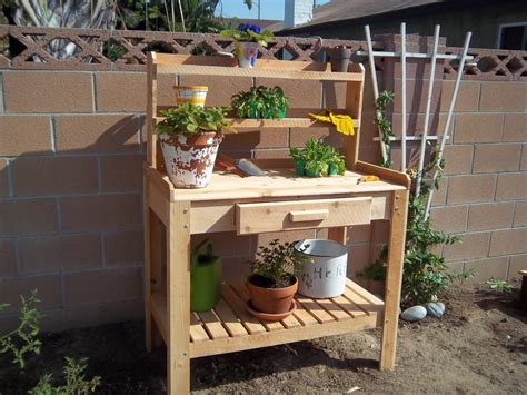 Gardening Table by Appealing Lower Shelf For Simple Wooden Planting Table