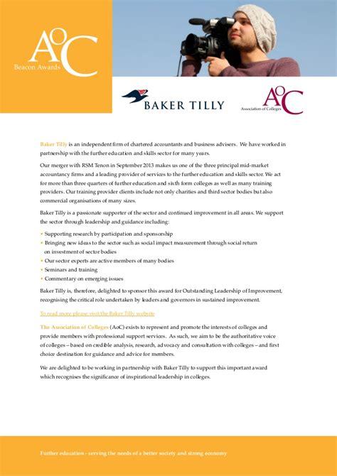 Aoc Calendar Aoc Beacon Awards 2014 15 Baker Tilly And Association Of
