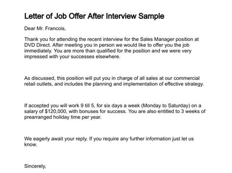 Offer Letter To Successful Candidate Letter Of Offer