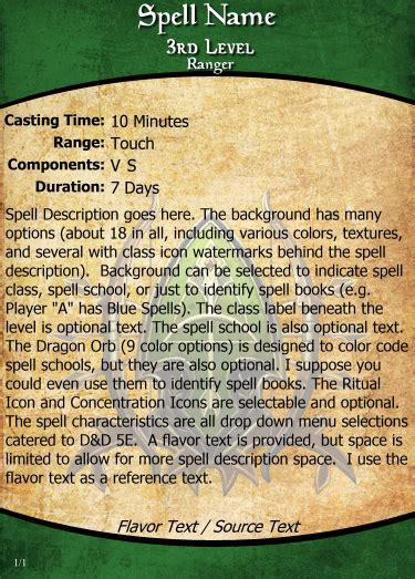 5e mse card template homebrew spell cards d d 5e using mse