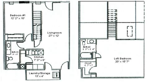 2 bedroom with loft house plans floor plan two bedroom loft woodsview apartments