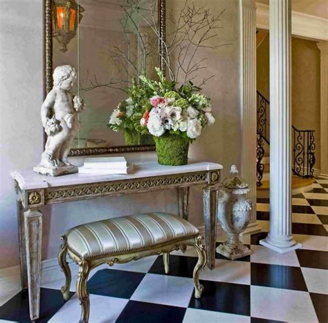 foyer table ideas bloombety foyer table ideas with decorative sculpture