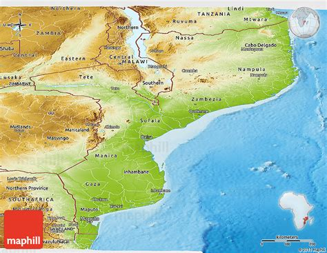 physical map of mozambique mosambik physik karte