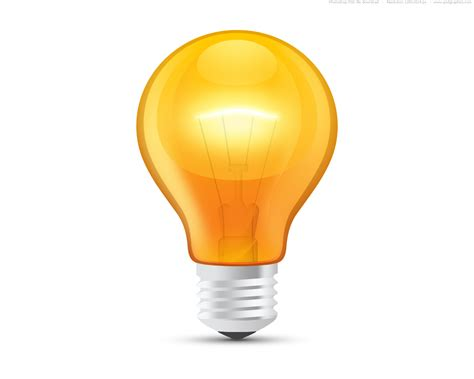 light bulb glossy orange light bulb psd psdgraphics