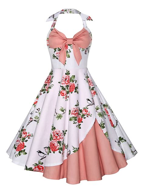 Dress Vintage vintage halter floral print dress in pink m sammydress
