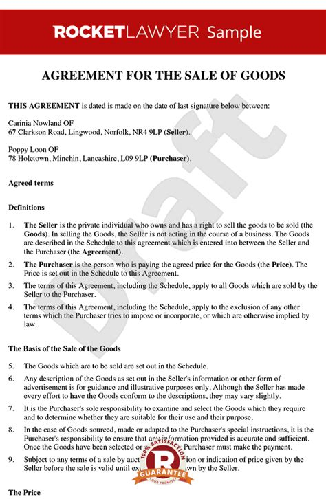 international sales agreement template sale of personal goods contract create a sale contract