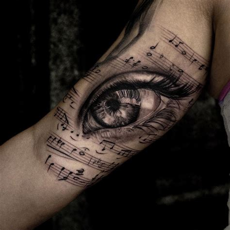 musical eye girls arm piece best tattoo design ideas