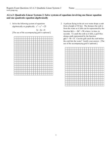Linear Quadratic Systems Worksheet by Systems Of Linear And Quadratic Equations Worksheet Photos