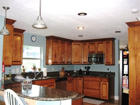 Blue Kitchen Walls With Brown Cabinets Black And Brown Granite With Maple Cabinets Kitchen Light Blue Walls Kitchen