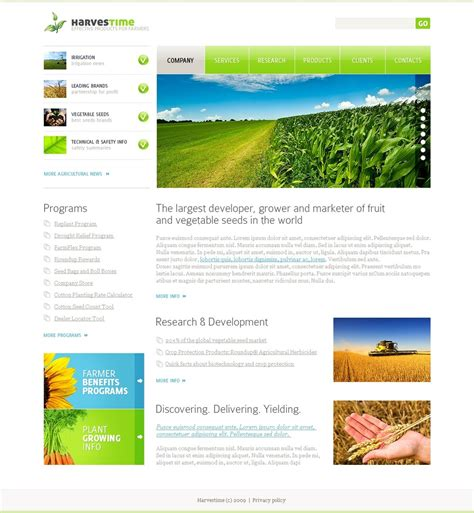 templates for agriculture website agriculture website template 26436