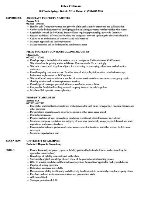 Independent Property Adjuster Sle Resume by Claims Adjuster Resume Auto Claims Adjuster Resume Sle Insurance Appraiser Exle Insurance