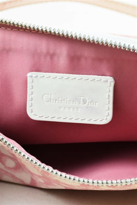 christian dior pink white coated canvas monogram saddle bag